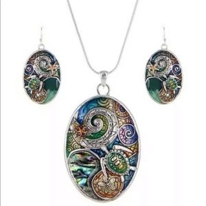 New - Sea Turtle Pendent Oval Necklace & Earrings